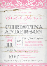 Coordinated Pink Lace Over Birch Bridal Invitations