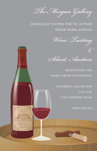Wine Tasting Grey Invitations