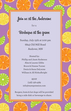Fresh Citrus Purple Invitations