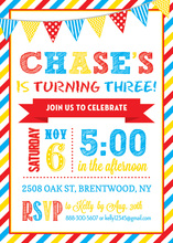 Primary Stripe Border Banners Birthday Invitations