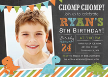 Banners Dinosaur Chalkboard Photo Invitations