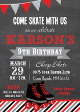 Red Black Roller Skates Chalkboard Birthday Invitations