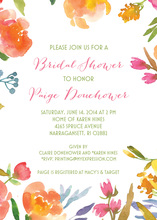 Peach Pink Floral Border Invitations