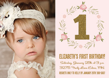 Pink Floral Wreath Gold Glitter 1 Photo Invitations