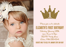 Gold Glitter Princess Crown Photo Birthday Invitations