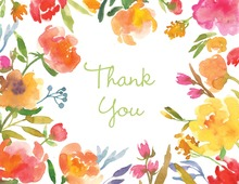 Watercolor Garden Floral Thank You Cards