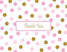 Pink Gold Dots Folded Thank You Cards