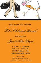 Traveling Couple Wedding Brunch Orange Invitations