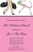 Traveling Couple Wedding Brunch Pink Invitations