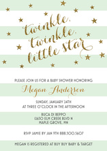 Mint Stripes Gold Glitter Twinkle Little Star Invites