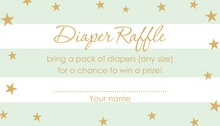 Mint Stripes Gold Stars Raffle Cards