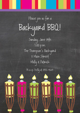 Tiki Torches Chalkboard Multi Stripes Invitation