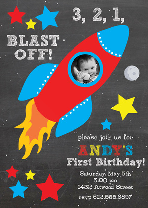 Red Blue Rocket Spaceship Birthday Party Invitations