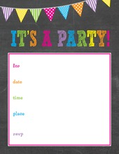 Girls Multicolored Banners Chalkboard Fill-in Invitations