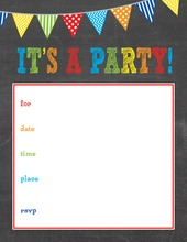 Boys Multicolored Banners Chalkboard Fill-in Invitations