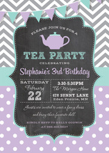 Grey Chevrons Purple Polka Dots Tea Chalkboard Invites