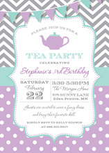 Grey Chevrons Purple Polka Dots Tea Party Invitations