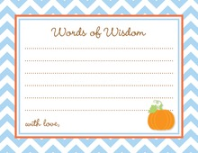 Little Pumpkin Blue Chevron Border Advice Cards