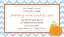 Little Pumpkin Blue Chevron Border Bring A Book Card