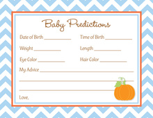 Little Pumpkin Blue Chevron Border Baby Predictions