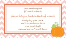 Little Pumpkin Pink Chevron Border Bring A Book Card