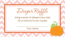 Little Pumpkin Pink Chevron Border Diaper Raffle Cards