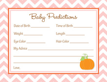 Little Pumpkin Pink Chevron Border Baby Predictions