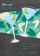 Two Martini Chalkboard Birthday Party Invitations