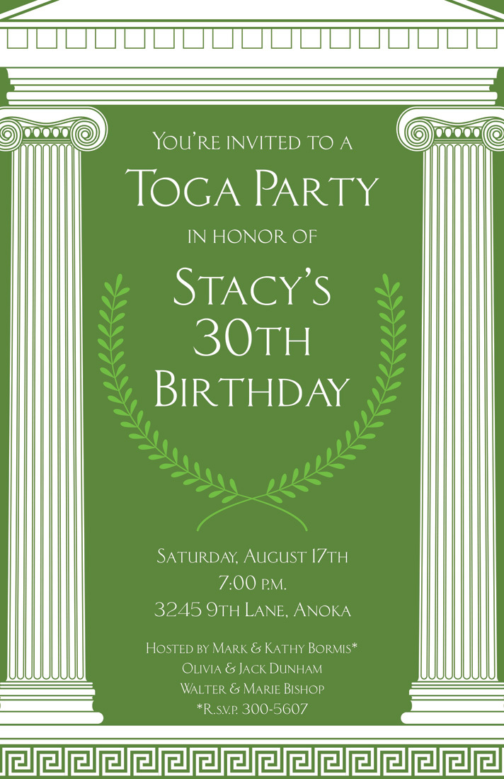 Green Mega Toga White Pillars Invitation