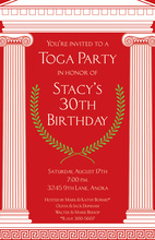 Red Mega Toga Greek Inspired Invitations