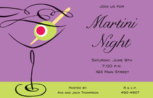 Swirl Martini Purple Cocktail Invitations