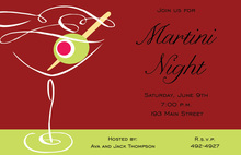 Christmas Swirl Martini Cocktail Invitations