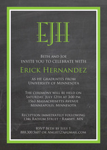 Green Border Chalkboard Monogram Invitations