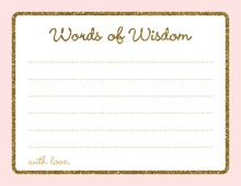 Gold Glitter Graphic Border Pink Advice Cards