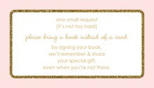 Gold Glitter Graphic Border Pink Bring A Book Card