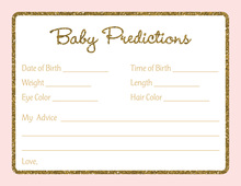 Gold Glitter Graphic Border Pink Baby Predictions