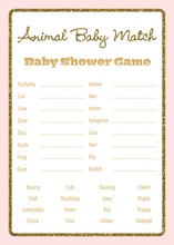 Gold Glitter Graphic Border Pink Baby Animal Name Game