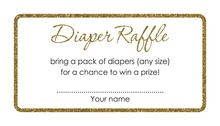 Gold Glitter Graphic Border Pink Diaper Raffle Cards