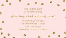 Gold Glitter Graphic Dots Pink Bring A Book Card