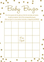 Gold Glitter Graphic Dots Baby Shower Bingo Game