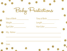 Gold Glitter Graphic Dots Baby Predictions