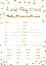 Gold Glitter Graphic Dots Baby Animal Name Game