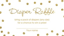 Gold Glitter Graphic Dots Diaper Raffle Cards