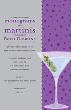 Monograms Olives Martinis Purple Polka Dots Invitation