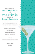 Monograms Olives Martinis Teal Polka Dots Invitation