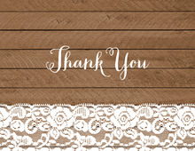 Lace Trimmed Wood Thank You Cards