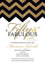 Fabulous Gold Glitter Chevron Fifty Birthday Invites