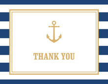 Navy Stripes Gold Anchor Nautical Note