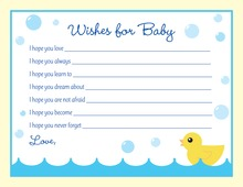 Yellow Duck Blue Border Baby Wishes