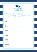 Blue Whale Splash Baby Shower Fill-in Invitations